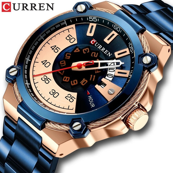 Relógio Curren 8345 Original De Luxo Com Calendário Aço Inox