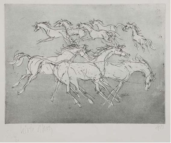 Livio Abramo - Linda Gravura Em Metal - Cavalos