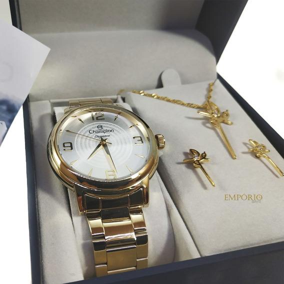 Relógio Champion Feminino Cn26126w + Kit De Brincos E Colar