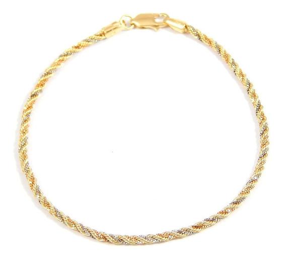 Pulseira De Ouro 18k Cordão Baiano Três Cores - Viagold F43