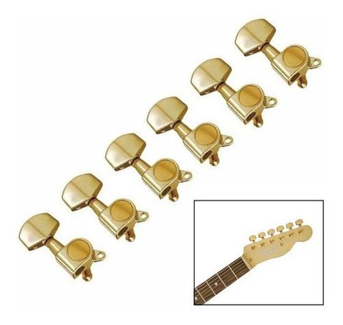 Tarrachas Tarraxas Guitarra Blindada 6 Em Linha Dourada