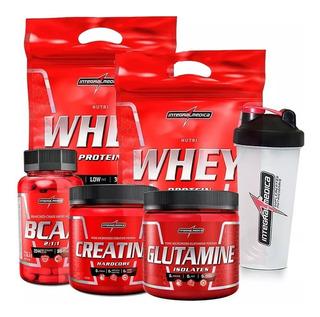2x Whey 900 + Creatina + Bcaa + Glutamina + Shake - Integral