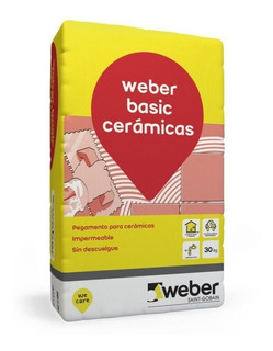Pegamento Cerámicas Weber Basic 30 K Pared Piso Interior Mm