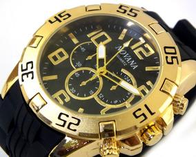 Relógio De Pulso Potenzia Masculino Dourado Com Preto B5713