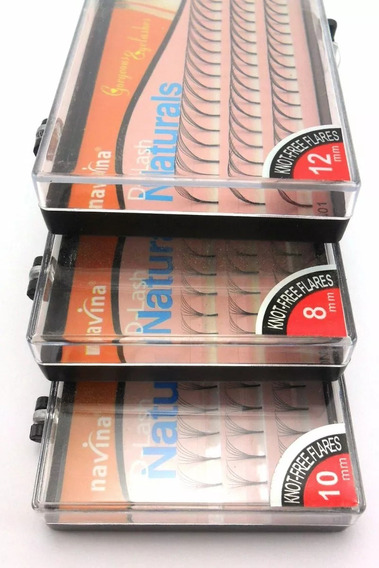40 Cx Cílios Tufos Navina 6 D Sem Nó 6 Fios C 8,10,12, 14mm