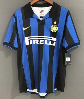 Camisa Inter De Milão Retrô 98/99 Ronaldo #9 Pronta Entrega