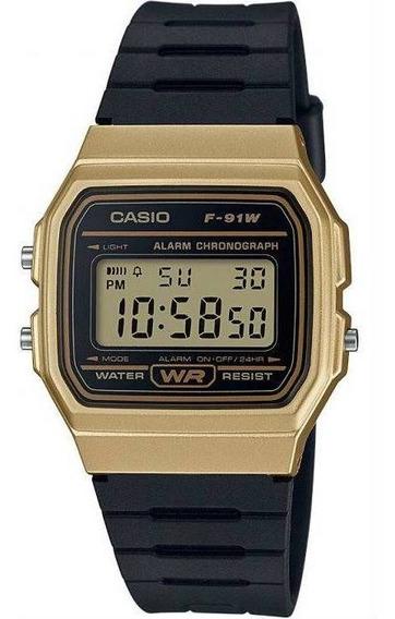 Relógio Casio Feminino Quadrado Dourado/preto Silicone + Nf