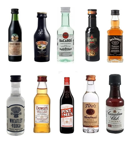 Combo Miniatura Oferta X10 Whisky Gin Licor Vodka