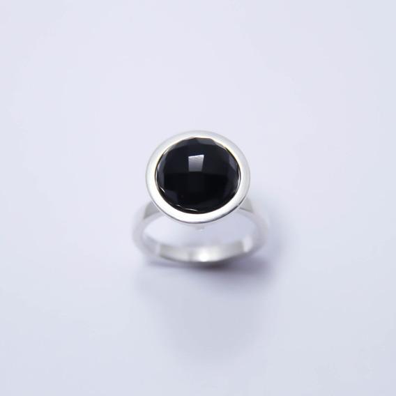 Anel Com Obsidiana Negra Natural Em Prata 950