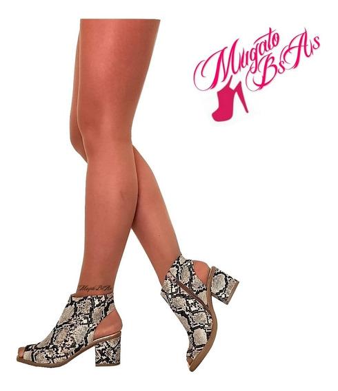 Zapatos Mujer Talon Y Puntera Abierta Taco Bajo Cierre Interno Art 710 Mugato-bsas®