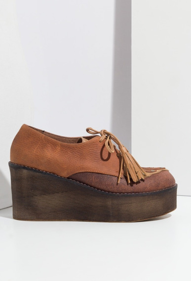 Zapatos Clara Barcelo Marron Suela - Media Estacion- Otoño