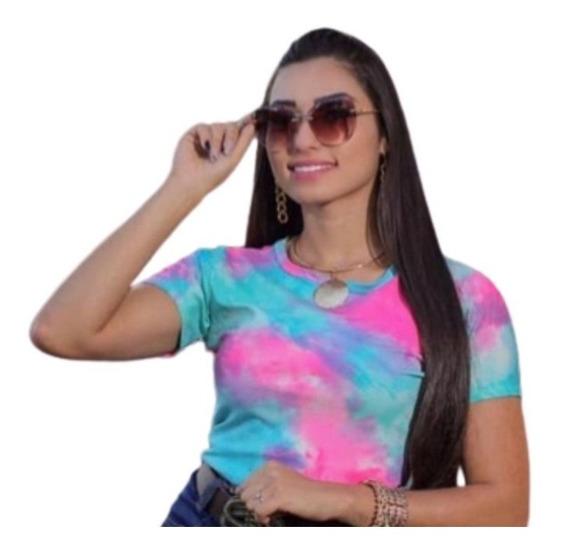 Blusa Tie Dye T-shirt Colorida Camiseta Feminina Lançamento