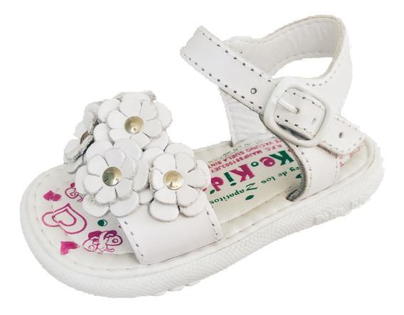 Huarache Infantil Niña Peke Kids 7 Blanco Piel