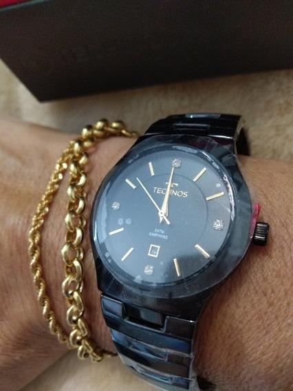 Relógio Techinos, Em Ceramic E Visor Em Cristal Safira