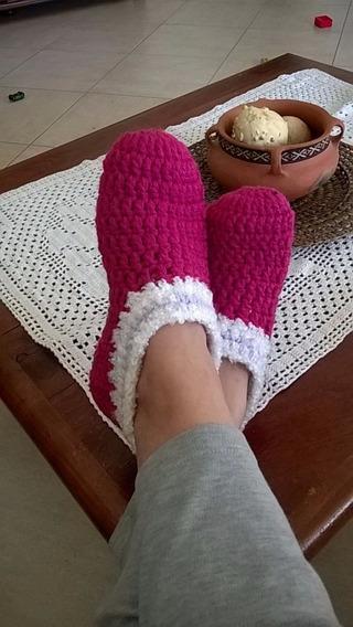 Pantuflas Tejidas Crochet Abrigadas 35/ 44 Colores Elección