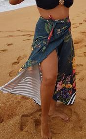 Saída De Praia, Saia Longa Pareô, Canga Luxo, Duda Floral