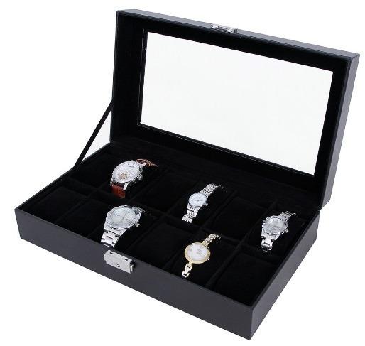 Elegante Estuche / Alhajero De Piel Sintetic Para 12 Relojes
