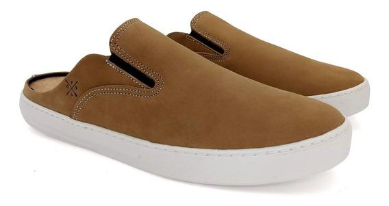 Tênis Mule Masculino Slip On Em Couro Legítimo Sapato Em Gel