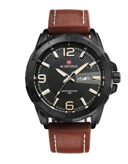Relógio Masculino Original Naviforce Militar Pulseira Couro