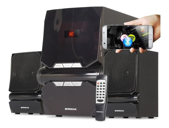 Home Theater 2.1 Sistema Som 50w Bluetooth Portátil Subwoofer Mp3 Usb Fm Pc Tv