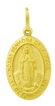 Pingente De Ouro 18k Medalha Nossa Senhora De Lourdes Pi1459