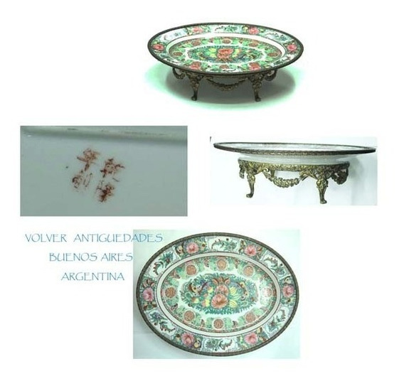 Antiguo Centro Mesa Oval Porcelana Y Bronce Chino 37 X 28 Cm