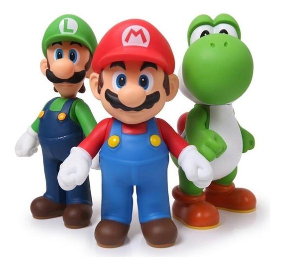 Kit 3 Bonecos Mario Luigi E Yoshi Super Size Collection