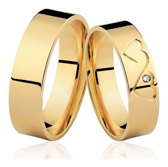 Par De Alianças De Ouro 18k 5mm 8 Gramas Coração Casamento