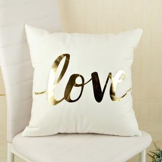 Funda Para Cojín Decorativo Con Estampado Dorado Love