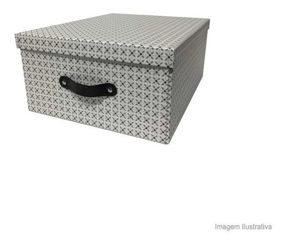 Caixa Organizadora Grande Branca E Preta Com Tampa Coisas E