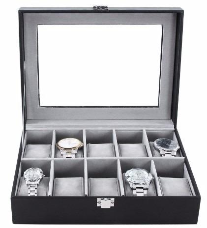 Fino Y Elegante Estuche / Alhajero De Piel Para 10 Relojes