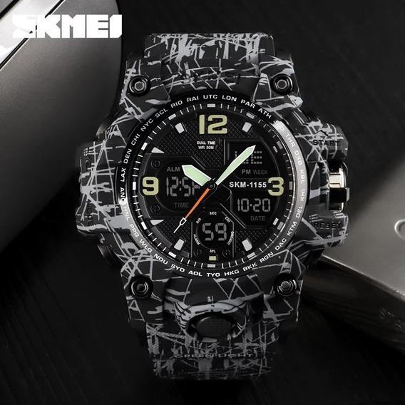 Relógio Masculino Skmei 1155 Tipo Militar A Prova Dagua