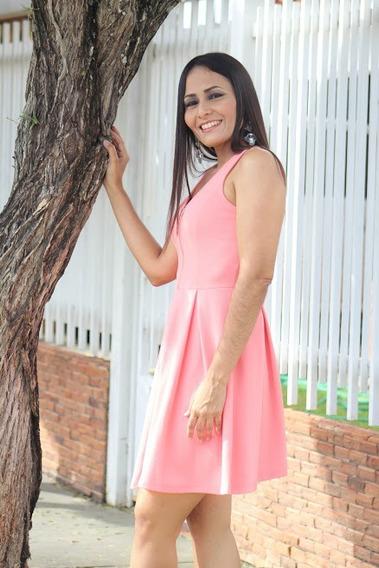 Vestido Corto Tipo Coctel Corto Sin Manga Color Rosa