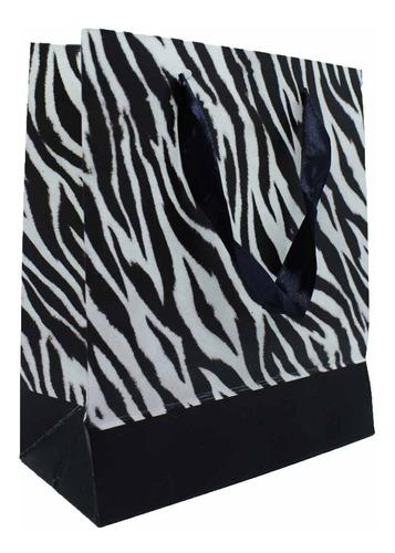 Sacola De Papel Luxo Zebra - 21x18 Cm - 12 Unidades