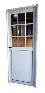 Puerta De Aluminio Blanco 1/2 Vidrio Repartido Con Vidrios