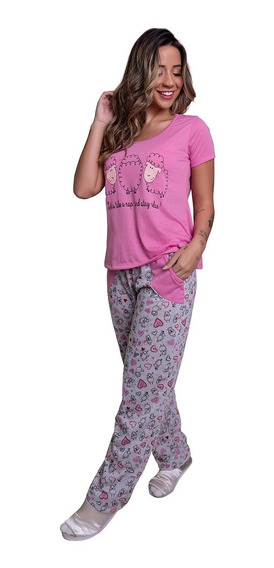 Pijama Feminino Inverno Calça Longa E Manga Curta Conforto
