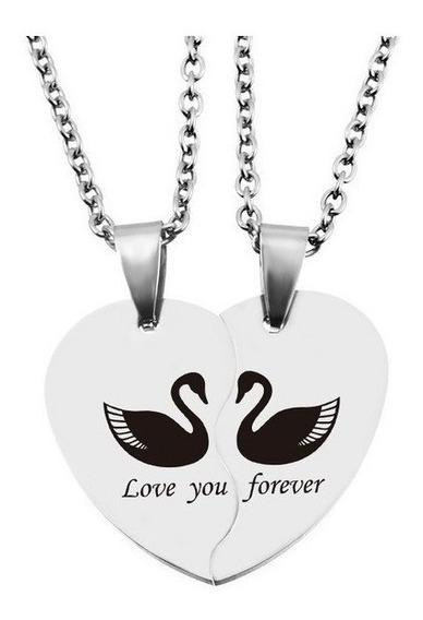 Colar Namorados Coração 2 Cara Metades Love You Forever