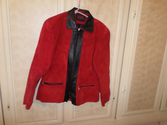 Chamarra Gamuza Rojo Negro Unisex T M New Boss Collection