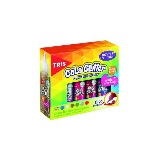 Caixa Cola Glitter 6x23g 6 Cores