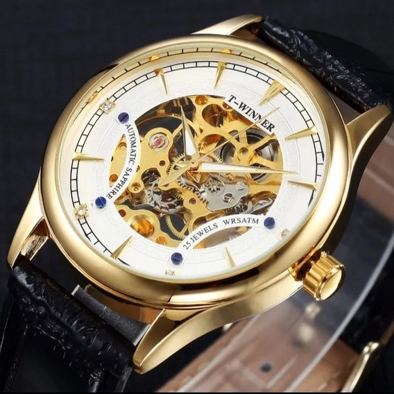Relógio Masculino Automático+pulseira De Couro Barato C.19