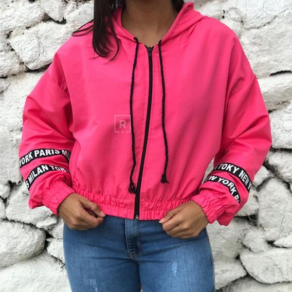 Jaqueta Feminina Corta Vento Com Capuz Casaco Blusa Tumblr