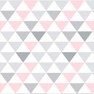 Papel De Parede Triângulos Rosa Menina Lavável - Promoção