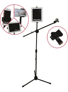 Pedestal Tripie Microfono Con Boom Porta Tablet Y Cel