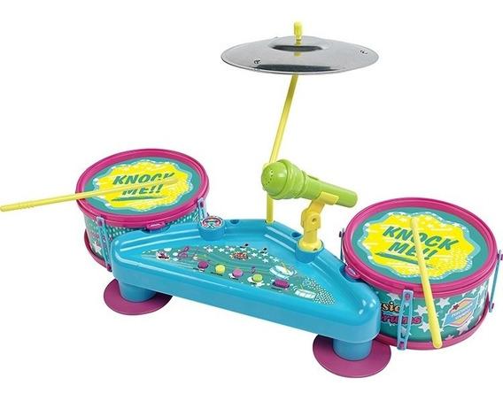 Bateria Infantil Com Efeitos Musicais E Karaoke Azul Menino