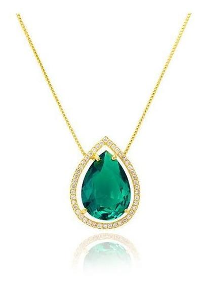 Colar De Gota Verde Esmeralda De Zircônias Folheado A Ouro
