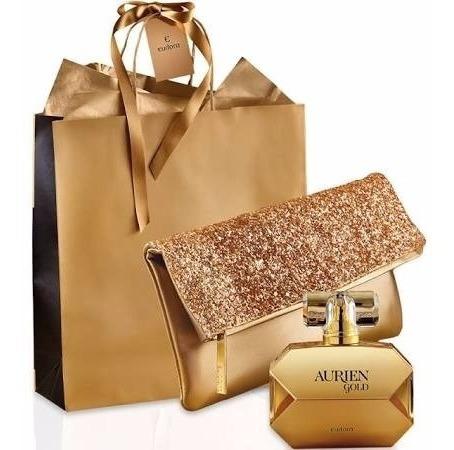 Aurien Gold Deo Colonia+ Clutch Luxo Dourado Eudora