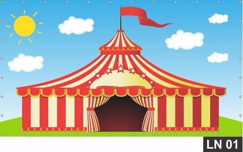 Imagem 1 de 6 de Painel De Festa Aniversário Circo Tenda 3,00x2,00m Lona
