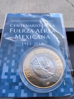 100 Años Fuerza Aerea Mexicana Sin Circular 20 Pesos Blister