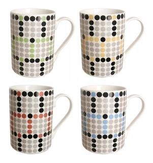 Set De 6 Mugs Porc Circulos + Cucharitas Porcelana Macarrons