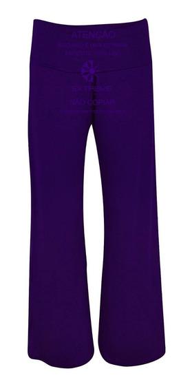 Calça Pantalona Em Viscolycra Cintura Alta Diversas Cores